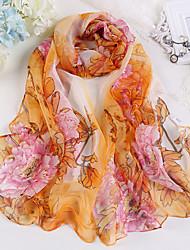 cheap -Women Chiffon Scarf,Cute Party Casual Rectangle,Red Blue Gray Purple Orange,Print