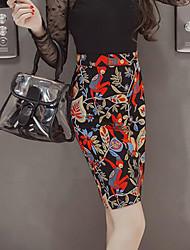 Femme Jupes,Moulante ImpriméTaille Haute Sexy Vintage Chic de Rue Au dessus des genoux Sortie Soirée Polyester fermeture Éclair
