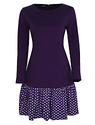 Plus Size Party Vintage Sheath Dress,Polka Dot Round Neck Knee-length Long Sleeve Cotton Polyester Blue Black Purple Spring Fall