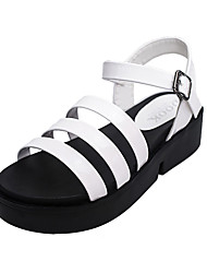 Women's Sandals Mary Jane PU Summer Casual Outdoor Mary Jane Lace-up Low Heel White Black Dark Grey Flat