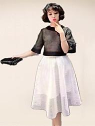 grand prix europeen 2017 nouveau printemps et les femmes d'été dans deux pièces robe en dentelle à manches courtes une ligne robe grande