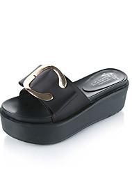 cheap -Women's Sandals Comfort PU Spring Summer Casual Dress Comfort Platform Black Green Blushing Pink Flat
