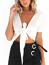 Women's Lace up  Going out Casual/Daily Sexy Simple Fall T-shirtSolid V Neck Bare Midriff Short Sleeve Bow All Match White Black Polyester Medium