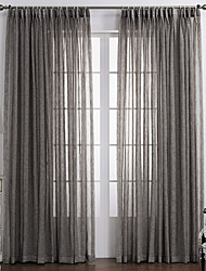 cheap -Sheer Curtains Shades Bedroom Solid Colored 100% Polyester Print