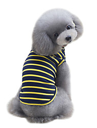 cheap -Dog Shirt / T-Shirt Vest Dog Clothes Cute Fashion Sports Stripe Yellow Red Green Costume For Pets