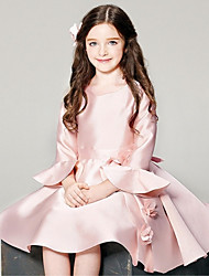 Ball Gown Short / Mini Flower Girl Dress - Satin Long Sleeves Scoop Neck with Flower by YDN