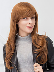 cheap -fashion long natural wave auburn capless human hair wig for girls and women 2017