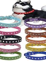cheap -Dog Collar Adjustable / Retractable Genuine Leather Red Green Blue Pink Light Blue