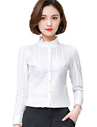 Women's Solid Stand Collar Plus Size Formal Work OL Long Sleeve White Cotton Shirt