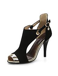 Feminino-Sandálias-Conforto Gladiador Sapatos clube-Salto Agulha-Preto Cinzento Amarelo-Flanelado-Casamento Casual Festas & Noite