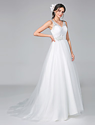 A-Line V-neck Court Train Tulle Wedding Dress with Appliques Criss-Cross Ruche by LAN TING BRIDE®