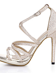 cheap -Women's Shoes Synthetic Summer Comfort / Light Up Shoes Sandals Stiletto Heel Open Toe Gold / Silver / Wedding / Party & Evening / Party & Evening