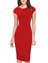 Damen Hülle Kleid-Ausgehen Lässig/Alltäglich Übergröße Einfach Street Schick Solide Rundhalsausschnitt Knielang Kurzarm Rot Schwarz Grün