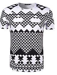 Hombre Simple Casual/Diario Camiseta,Escote Redondo Estampado Manga Corta Algodón Blanco