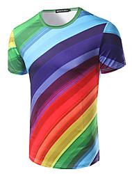 Tee-shirt Hommes,Imprimé Décontracté / Quotidien Plage Vacances simple Manches Courtes Col Arrondi Multi-couleur Coton