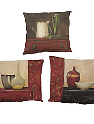 "Set of 4 Retro Furniture Pattern Printed Linen Cushion Cover Creative Decoration Square (18""*18"")"