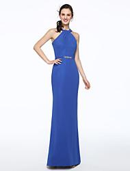 Sheath / Column Halter Floor Length Chiffon Bridesmaid Dress with Beading Sash / Ribbon Pleats by LAN TING BRIDE®
