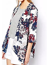 cheap -Women's Daily Simple Casual Summer Fall Jacket,Floral Round Neck Half Sleeves Regular Cotton