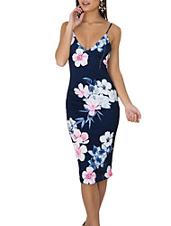 cheap -Women's Daily Going out Vintage Boho Sheath Dress,Floral Strap Knee-length Sleeveless Polyester Summer Fall Mid Rise Micro-elastic Medium
