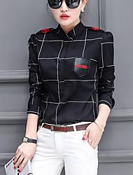 preiswerte -Damen Geometrisch Einfach Lässig/Alltäglich Hemd,Hemdkragen Frühling Sommer Langarm Rot Weiß Schwarz Polyester Mittel