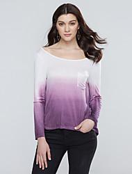 cheap -Women's Batwing Sleeve Cotton T-shirt - Color Block Backless