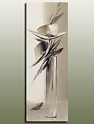 Beautiful Grey Abstract Knife Oil Painting Flower in Glass For Living Room Decoration Heavy Texture Flower Painting With Frame