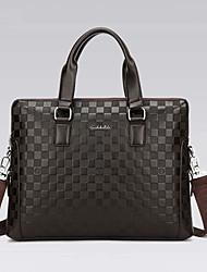 Men Bags All Seasons PU Briefcase for Formal Office & Career Black Brown