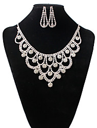 Jewelry 1 Necklace 1 Pair of Earrings Imitation Diamond Rhinestone Wedding Party Special Occasion Casual Alloy Rhinestone 1set Silver