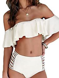 cheap -Women's Off Shoulder Bandeau Bikini - Solid Colored, Ruffle Lace up High Waist