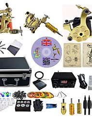cheap -Tattoo Machine Professional Tattoo Kit 3 alloy machine liner & shader High Quality LCD power supply 3 x aluminum grip 4 x disposable grip
