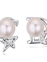 Da donna Orecchini a bottone Cristallo Perle Natura Cristallo austriaco Lega A stella A croce MOON Gioielli Per Quotidiano