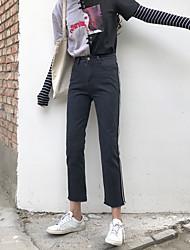 знак весной новые корейские женщины ослабленные тонкие студенты простые два бара шутник джинсы
