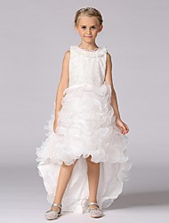 Ball Gown Asymmetrical Flower Girl Dress - Organza Sleeveless Jewel Neck with Beading by YDN