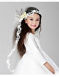 baratos -Duas Camadas Véus de Noiva Véus de Primeira Comunhão Com Bordado Tule