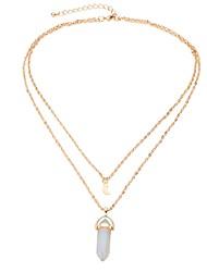 Colares com Pendentes Diamante sintético Formato de Coração Cristal Liga Vintage Euramerican Jóias Para Festa Aniversário Diário Casual