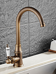 cheap -Antique Standard Spout Vessel Rotatable Ceramic Valve Single Handle One Hole Antique Copper , Kitchen faucet