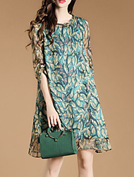 cheap -Women's Going out Street chic Loose Chiffon Dress,Print Round Neck Above Knee Polyester Spring Summer Mid Rise Micro-elastic Medium