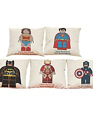 "cheap -Set of 5 Captain America Spide-man Superman Batman Iron man  Printed Pillow Cover(18""*18"")"