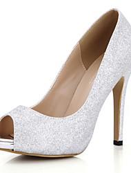 Mujer-Tacón Stiletto-Confort-Tacones-Boda Vestido Informal Fiesta y Noche-Sintético-Plata Oro