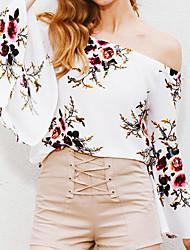 cheap -Women's Going out Holiday Casual Blouse - Floral Off Shoulder