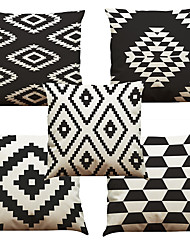 cheap -Set of 5 Black and white lattice Pattern  Linen Pillowcase Sofa Home Decor Cushion Cover (18*18inch)