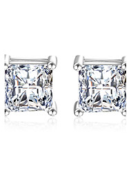 cheap -Women's 1 Stud Earrings Drop Earrings Synthetic Diamond AAA Cubic Zirconia Classic Elegant Sterling Silver Cubic Zirconia Square Jewelry