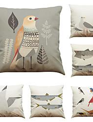 Set of 6 Bird fish pattern Linen Pillowcase Sofa Home Decor Cushion Cover (18*18inch)
