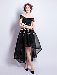 billige -A-line off-the-shoulder asymmetrisk tulle cocktail party kjole med applikationer