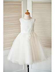cheap -A-Line Knee Length Flower Girl Dress - Satin Tulle Sleeveless Scoop Neck with Beading Buttons Lace Sash / Ribbon by LAN TING BRIDE®