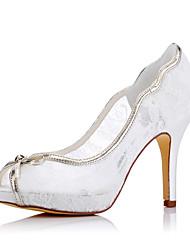 abordables -Mujer Zapatos Seda Primavera / Verano / Otoño Tacones Tacón Stiletto Punta abierta Blanco / Boda / Fiesta y Noche / Vestido / Fiesta y Noche