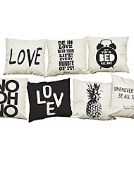 Set of 7 Black and white simple letters Linen  Cushion Cover Home Office Sofa Square  Pillow Case Decorative Cushion Covers Pillowcases