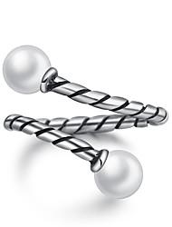 preiswerte -Ringe Party Besondere Anlässe Normal Schmuck Künstliche Perle Ring 1 Stück,Verstellbar Silber