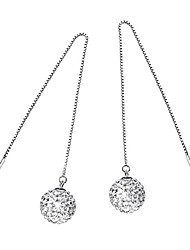 925 Sterling Silver Earrings AAA Zircon Ball Long Drop Earrings Jewelry