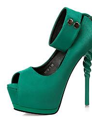 cheap -Women's Shoes Fleece Spring Club Shoes Heels Stiletto Heel Peep Toe Buckle For Dress Black Gray Green Blushing Pink Burgundy